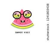 happy watermelon fruit... | Shutterstock .eps vector #1241803438