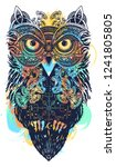 magic owl celtic tattoo and t... | Shutterstock .eps vector #1241805805