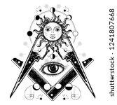 all seeing eye. alchemy ... | Shutterstock .eps vector #1241807668