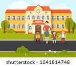 schoolchild with teacher near... | Shutterstock .eps vector #1241814748