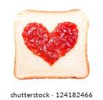 slice of bread with fruit jam heart shape on white background - stock photo