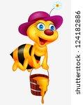 bee cartoon with honey bucket | Shutterstock .eps vector #124182886