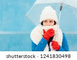 sad sick winter woman holding... | Shutterstock . vector #1241830498