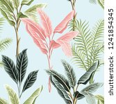 tropical vintage pink and green ... | Shutterstock .eps vector #1241854345
