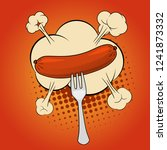 grilled sausage on a fork  pop... | Shutterstock .eps vector #1241873332