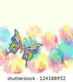 Romantic colorful background with butterfly, illustration with place for text, vector - stock vector