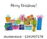 merry christmas with many gift...   Shutterstock . vector #1241907178