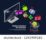 online shopping in the colored... | Shutterstock .eps vector #1241909182