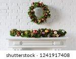 Festive Christmas Wreath Over...