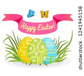 concept of happy easter and... | Shutterstock .eps vector #1241945158