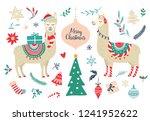 cute cartoon llama alpaca... | Shutterstock .eps vector #1241952622