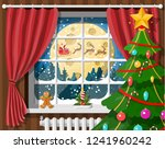 santa claus and his reindeer in ... | Shutterstock .eps vector #1241960242