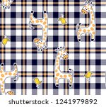 giraffe and birds on plaid... | Shutterstock .eps vector #1241979892