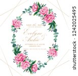 floral wedding invitation with... | Shutterstock .eps vector #1242025495