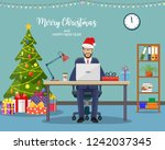 christmas and new year in... | Shutterstock .eps vector #1242037345
