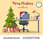 christmas and new year in... | Shutterstock .eps vector #1242037348