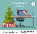 christmas and new year in... | Shutterstock .eps vector #1242037375