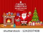 santa claus holding gift box... | Shutterstock . vector #1242037408