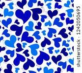 pattern blue hearts  vector... | Shutterstock .eps vector #1242050695