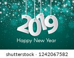 turquoise happy new year 2019... | Shutterstock .eps vector #1242067582