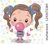 cute cartoon girl with pink... | Shutterstock .eps vector #1242072385