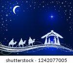 christian christmas theme.... | Shutterstock .eps vector #1242077005
