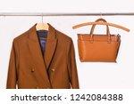 brown coat with leather handbag ... | Shutterstock . vector #1242084388