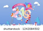 2019 new year design card with... | Shutterstock .eps vector #1242084502