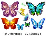 Stock vector set of colorful isolated butterflies 124208815