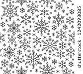 snowflake black line seamless... | Shutterstock .eps vector #1242093085