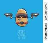 vector funny cartoon cute brown ...   Shutterstock .eps vector #1242098098