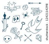 old school tattoos set  roses ... | Shutterstock .eps vector #1242114298
