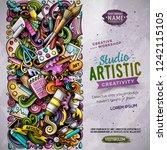 cartoon vector doodles art... | Shutterstock .eps vector #1242115105