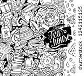 cartoon vector doodles tea time ... | Shutterstock .eps vector #1242115135