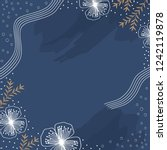 flower scarf pattern with navy... | Shutterstock .eps vector #1242119878