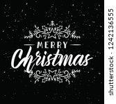 merry christmas. typography.... | Shutterstock .eps vector #1242136555