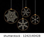 christmas gold ball with... | Shutterstock .eps vector #1242140428