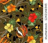 modern animal skin prints.... | Shutterstock .eps vector #1242146545