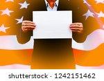 businessman hands holding blank ... | Shutterstock . vector #1242151462