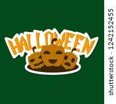 halloween pumpkin with face on... | Shutterstock .eps vector #1242152455