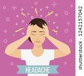 woman suffers from headache and ... | Shutterstock . vector #1242157042