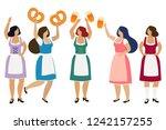 women in traditional bavarian...   Shutterstock . vector #1242157255