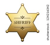 Vector Golden Sheriff Star over white background