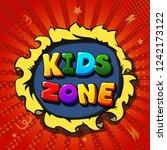 kids zone banner in cartoon... | Shutterstock .eps vector #1242173122