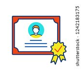 certificate color icon. diploma.... | Shutterstock .eps vector #1242183175