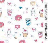 cute vector seamless pattern... | Shutterstock .eps vector #1242190588
