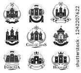ancient citadels emblems set.... | Shutterstock .eps vector #1242207622