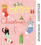 merry christmas. cute greeting... | Shutterstock .eps vector #1242207628