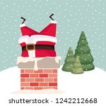 santa claus with chimney in... | Shutterstock .eps vector #1242212668