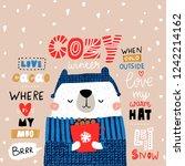 cute winter bear in sweater.... | Shutterstock .eps vector #1242214162